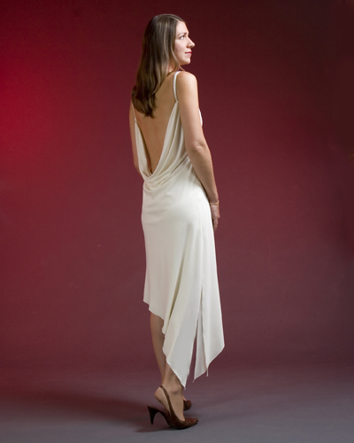 Draped back with angled hem