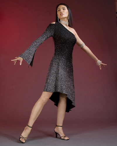 Silver & Black one sleeved Latin Dress