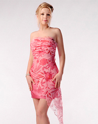 Pink Floral Asymetrical Dress