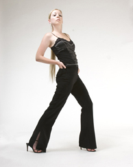 Black side slit pants