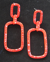 Red Square Hoop earrings