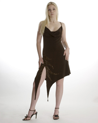 brown angled slip dress