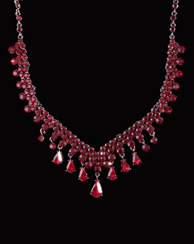 V shaped Ruby Rhinestone Necklace with Earrings