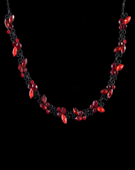 Vine Design Ruby Rhinestone Necklace with Earrings