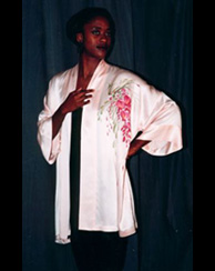 hand painted silk bathrobe