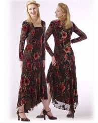 Richly colored floral velvet dress