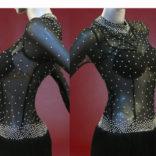 Black Argentine latin Tango costume with rhinestoned bodice-01