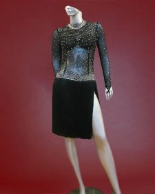 Black Argentine latin Tango costume with rhinestoned bodice