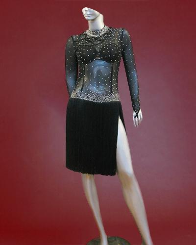 Black Argentine latin Tango costume with rhinestoned bodice