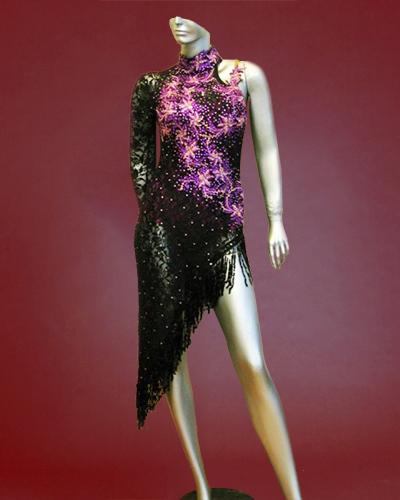 Black lace latin Tango Costume with stunning Purple lace-01
