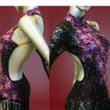 Black lace latin Tango Costume with stunning Purple lace-03