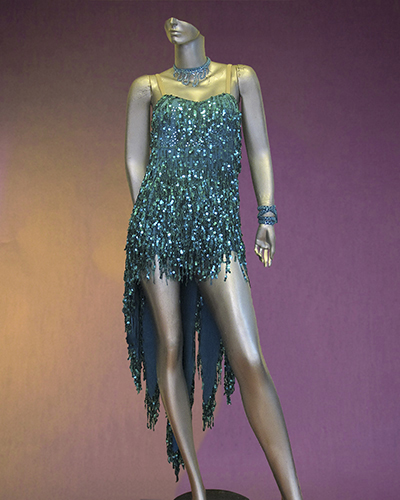 fa5099bc6f04a Blue sequin fringe Latin dance costume - dancedress.com