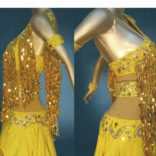 Gold Latin costume with Frill Skirt-01