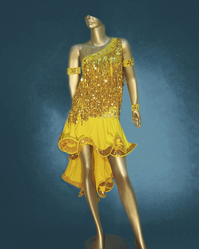 Gold Latin costume with Frill Skirt