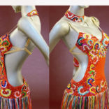 Multicolored Floral Latin dance costume-01
