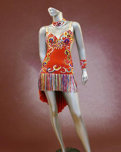 Multicolored Floral Latin dance costume