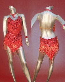 Sizzling Red Latin dance costume