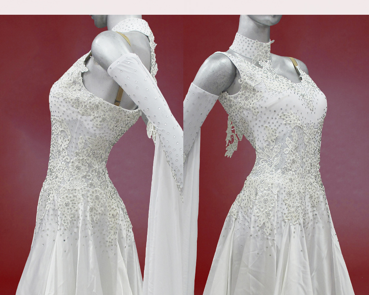 White ballroom dress with gloves and float for Best wedding dresses for dancing