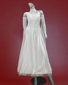 white ballroom dress with gloves and float