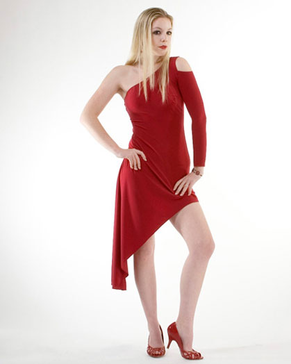 Asymmetrical Tango Dress With Open Shoulder