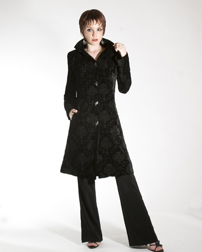 Black Velvet Embroided 3 4 Jacket