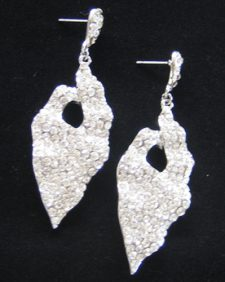Crystal Pointed Leaf Earrings