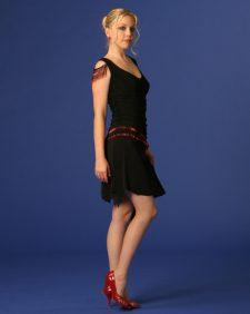 Flirty Black Dress With Red Beaded Fringe