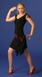 Flirty Black Dress With Red Beaded Fringe_1