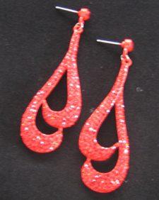 Red Double Tear Drop Earring