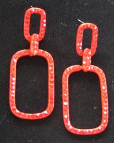 Red Square Hoop Earrings