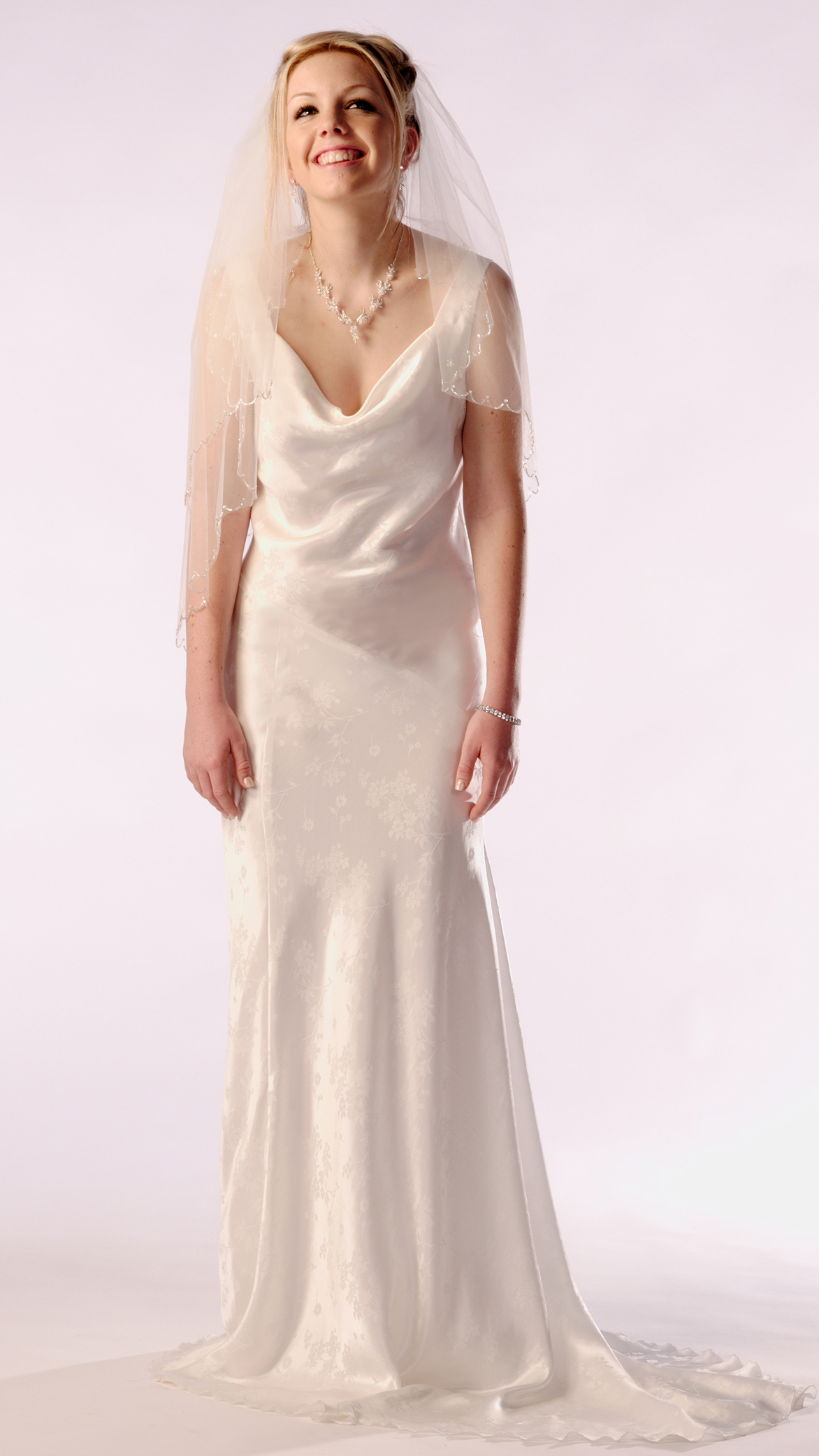 Cowl Neck Bias cut Bridal Gown - dancedress.com