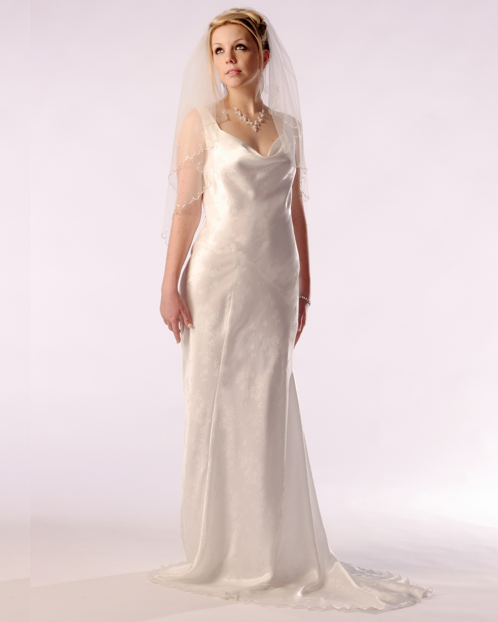 Cowl Neck Wedding Dresses Whimsical: Cowl Neck Bias Cut Bridal Gown