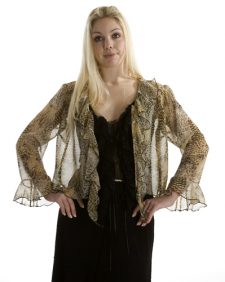 Animal Print Silk Chiffon Top Jacket