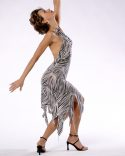 Backless Latin Chic In Shimmering Zebra Sequins_1