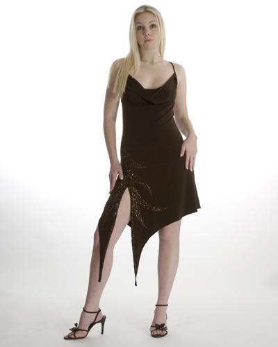 Brown Angled Slip Dress