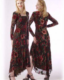Richly Colored Floral Velvet Dress
